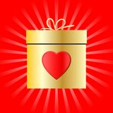 Gift box and heart symbol for Valentines day. Vector illustration Stock Photos