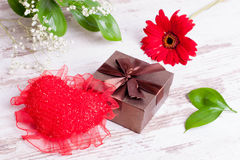 Gift box and heart for Valentine's Day Royalty Free Stock Photography