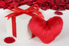 Gift box with heart for Valentine's or mother's day gifts. Gift box with heart and roses for Valentine's or mother's day gifts Stock Photo