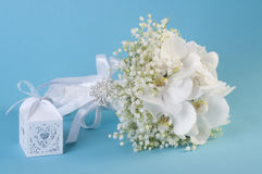 Gift box with heart and wedding bouquet Royalty Free Stock Photo