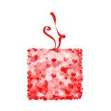 Gift box from hearts Royalty Free Stock Photos