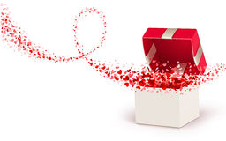 Gift box with hearts. Open box with flying hearts on a white background Royalty Free Stock Images