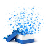 Gift box with hearts. Blue open box with flying hearts on a white background Royalty Free Stock Photos