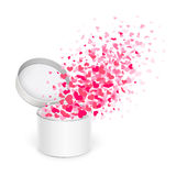 Gift box with hearts. Open box with flying hearts on a white background Royalty Free Stock Image