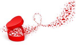 Gift box with hearts. Gift box with flying hearts. Vector illustration Royalty Free Stock Photo
