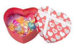 Gift box with hearts Royalty Free Stock Photography