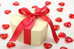 Gift box and hearts Stock Photography