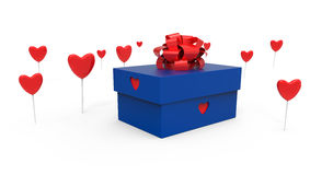 Gift box with hearts Royalty Free Stock Photos