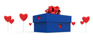 Gift box with hearts Stock Photography