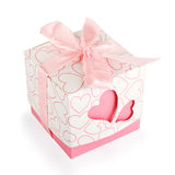 Gift box with hearts Stock Images
