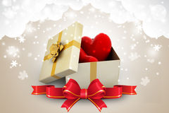 Gift box and hearts. In color background Stock Photos