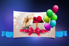 Gift box and hearts. In color background Royalty Free Stock Images