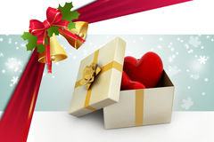 Gift box and hearts. In color background Royalty Free Stock Photography