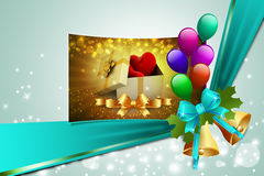 Gift box and hearts. In color background Royalty Free Stock Photos