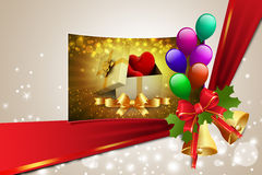 Gift box and hearts. In color background Royalty Free Stock Photo