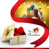 Gift box and hearts. In color background Royalty Free Stock Image
