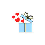 Gift box with hearts flat icon, love present. Gift box with hearts solid icon, love present for Valentines day, vector graphics, a colorful linear pattern on a Royalty Free Stock Image