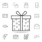 Gift box with hearts icon. Set of Love element icons. Premium quality graphic design. Signs, outline symbols collection icon for w. Ebsites, web design, mobile Royalty Free Stock Image