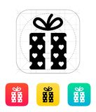 Gift box with hearts icons on white background. Vector illustration stock illustration