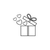 Gift box with hearts line icon, love present. For Valentines day, vector graphics, a linear pattern on a white background, eps 10 Royalty Free Stock Photo