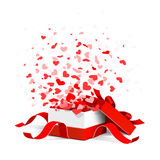 Gift box with hearts. Open gift box with flying hearts isolated on white Royalty Free Stock Image