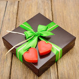 Gift box and hearts Royalty Free Stock Photos