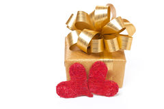 Gift box and hearts for Valentine's Day, isolated Royalty Free Stock Photography