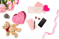 The gift box with hearts on white background Royalty Free Stock Photo