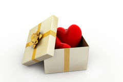 Gift box and hearts. In white color background Stock Photography