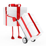 Gift box hold hand truck. Red christmas gift box hold hand truck Stock Photos