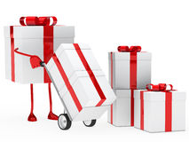 Gift box hold hand truck. Red christmas gift box hold hand truck Stock Image