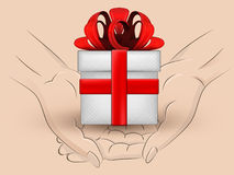 Gift box hold two human hands across vector Stock Images