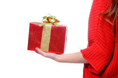 Gift box holding on a hand Stock Photography