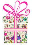 Gift box with holiday pattern. New Year design Stock Photos