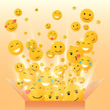 Gift box for the holiday. Vector smiley illustration face. Stock Photography