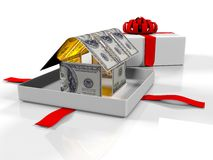 Gift box in the house of banknotes on a white background, 3d render. 3d render, gift box in the house of banknotes on a white background Royalty Free Stock Photography