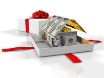 Gift box in the house of banknotes on a white background, 3d render. 3d render, gift box in the house of banknotes on a white background Royalty Free Stock Photo