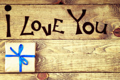 Gift box and I Love You words Royalty Free Stock Photo