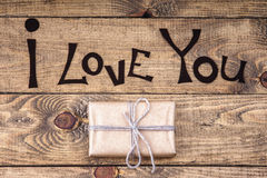 Gift box and I Love You words Stock Photos