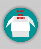 Gift box icon in blue circle. White vector box words inside to open Royalty Free Stock Photography
