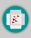 Gift box icon in blue circle. White vector box words inside to open Royalty Free Stock Photo