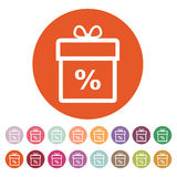 Gift box icon. Discount. Present symbol. Flat Royalty Free Stock Photography