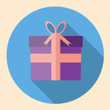 Gift Box icon  flat design with long shadow Stock Photos
