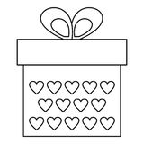 Gift box icon, outline style Royalty Free Stock Photography