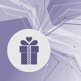 Gift box icon on purple abstract modern background. The lines in all directions. With room for your advertising. Illustration Royalty Free Stock Photo