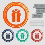 Gift box icon on the red, blue, green, orange buttons for your website and design with space text. Illustration Royalty Free Stock Images
