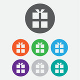 gift box icon. Round color square buttons. Stock Images