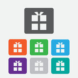 gift box icon. Round color square buttons. Royalty Free Stock Photo