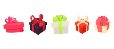 Gift box icon set, cartoon style. Gift box icon set. Cartoon set of gift box vector icons for web design isolated on white background Stock Images