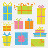Gift box icon set. Colorful cartoon collection. Isolated. White background. Flat design. Royalty Free Stock Photos